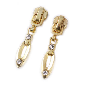 Custom Bag Puller with Diamond Gold Color Alloy Zipper Puller