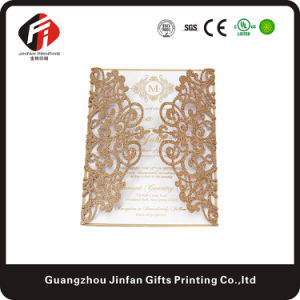 Customized Laser Cut Hollow Wedding Invitation Greeting Card of Gold/Silver/Black/Light Gold/Rose Gold Glitter Paper Rose Flower
