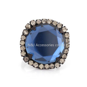 Top Fashion Alloy Pretty Blue Rings for Women Square Shape Charm Ladies Stone Jewelry