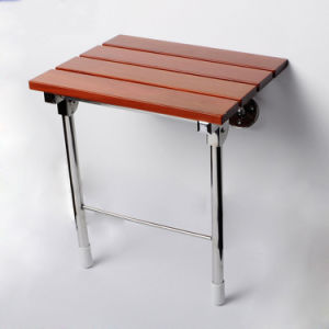 Antiseptic Folding Teak Wood Showering Seat Bath Stool