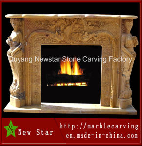 Hand Carved Natural Yellow Stone Fireplace for Wholesale (NS-1223) pictures & photos
