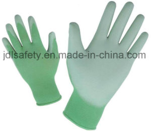 Blue Nylon Work Glove with PU Palm Coated (PN8004B) pictures & photos