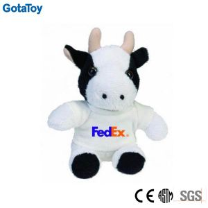 Cheap Custom Plush Toy Cow with Logo Printed Shirt