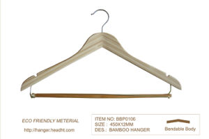 Hotel Ecofriendly Bamboo Wood Clothes Hanger W S Locked Bar pictures & photos