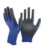 18 Gauge Navy Blue Nylon/Black PU Gloves pictures & photos