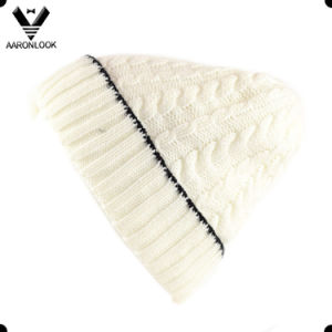 Winter Warm Acrylic Cable Knit Turnup Cuff Beanie with Fleece Lining