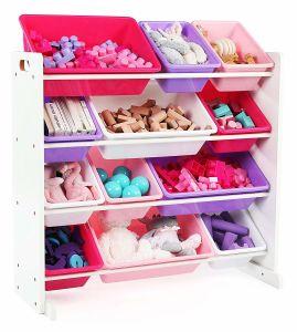 Toy Storage Rack With Plastic Bins