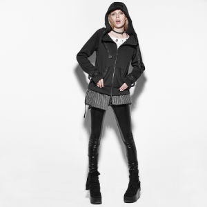 Py-172 Punk Fashionable Personality Fleece Pocket Cashmere Hooded Sweater for Girls