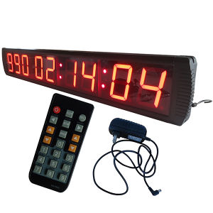 "4"" 9 Digits Days LED Countdown/up Clock, Red Color Character, Support Max 1000 Days Countdown or Count up with Hours Minutes Seconds"
