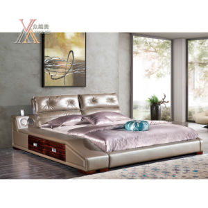 Top Grain Leather Bed with Stereo Equipment for Home (2092)
