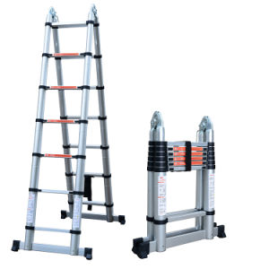 Double Telescopic Ladder 2 2+2 2m Straight Height 4 4m 7+7steps Maximum  Load 150kgs