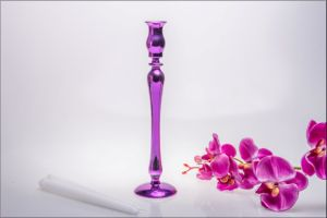 Purple Color Single Poster Glass Candle Holder for Wedding Decoration pictures & photos