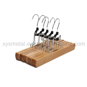 Metal Hooks Wooden Hanger for Pants Trousers Skirts and Hair Extension pictures & photos