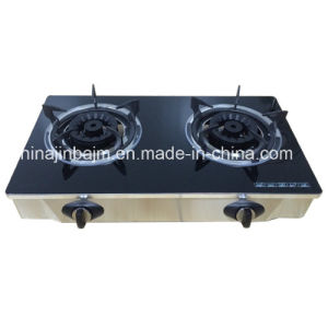 2 Burners Tempered Glass Top Brass 120mm Brass Burner Cooker/Gas Stove pictures & photos