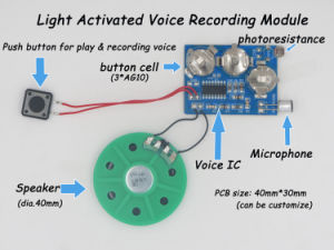 Voice recording module with light activated push play style for greeting card gift packing box and plush toy voice recording module with light activated push play style for greeting card gift packing m4hsunfo
