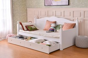 Hot Sale Modern Durable Wooden Children Bedroom Furniture Sets Kids Sofa  Bed Girls Bed with Trundle Bed and Storage Drawers