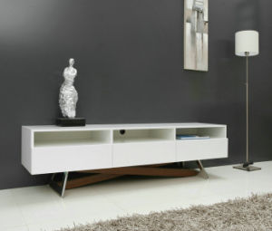 China High Gloss White Tv Cabinet With Stainless Steel Legs T285