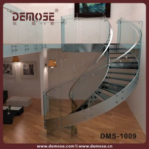 Safety Glass Steps Stainless Steel Circular Staircase For Small Spaces  (DMS 1009)