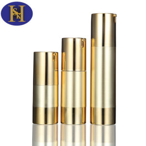 30ml 50ml Airless Gold Aluminum Cosmetic Pet Bottle Recycling pictures & photos