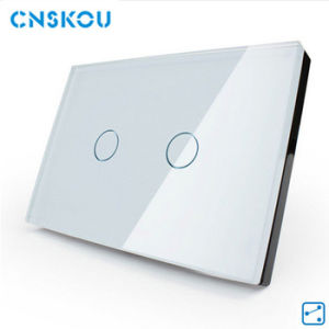Cnskou Manufacturer White Glass Touch Control Switches Plate Auto Socket Switch for Light Window Home 2gang 2way Wall Switch for LED Screen Lamp