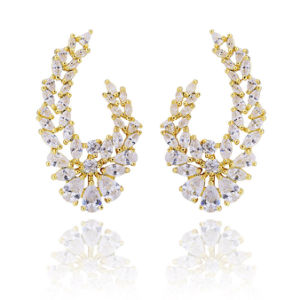 Fashionable 18k 24k Gold Plated Diamond Earring Jewelry