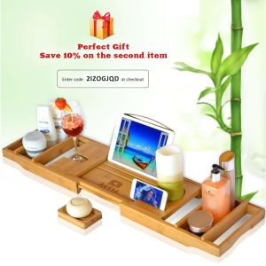 29dbd0bc4258c Wood Luxury Bathtub Caddy Tray, One or Two Person Bath and Bed Tray, Bonus  Free Soap Holder (Natural Bamboo Color)