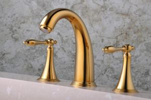 "Q30213G Gold Plated Three Holes 8"" Basin Faucet"