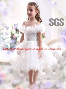 d43c41ee5233 Cute off Shoulder Sheer Tulle Tea Length Corset Cheap SGS Flower Girl Dress  (GDNY077)