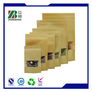 Kraft Paper Valve Bag with Window pictures & photos