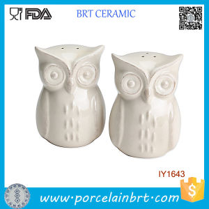 Cheap Animal Owl White Ceramic Spice Jar pictures & photos
