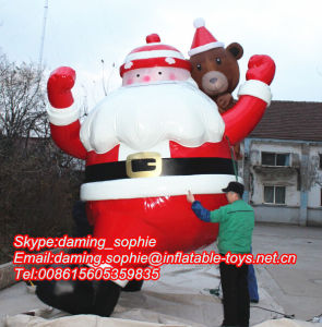 12m Inflatable Old Santa Claus For Roof Decoration