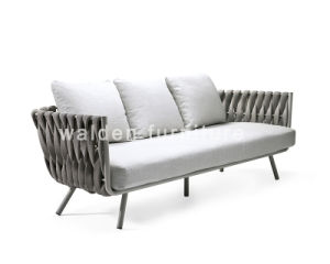 Modern Garden Loveseat Aluminium Sofa Lounge Outdoor 3-Seater Sofa