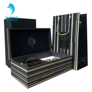 Mdf Handmade Bottle Customized Wooden Boxes Wine Gift Box Set With Hinged Lids