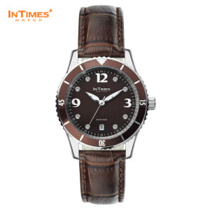 Intimes It-1052L Brown 2015 New Women Watches with Swrv Crystal Steel Case Leather Strap Japan Movt Quartz Watch
