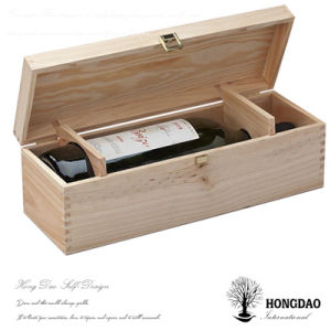 Hongdao Custom Made Pine Wood Wine Bottle Gift Box Wine Packaging Box Wood _E pictures & photos