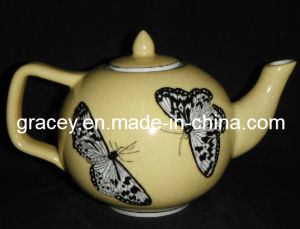 Hand Painted Butterful Figure Circle Tea Pot Set (CY4610A)