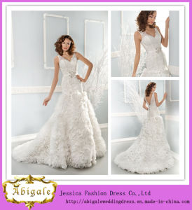 Newest Designs White Full Length a-Line V-Neck V-Back Organza Ruffled Wedding Dress with Detachable Sash