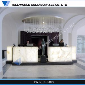 Tw Artificial Stone Solid Surface LED Beauty Salon Reception Desk pictures & photos