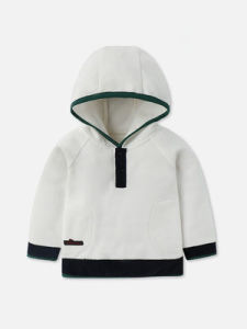 New Design Casual Kid′s White Plain Hoodie