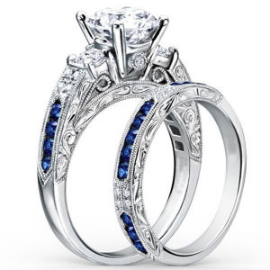 14k White Gold Engagement Ring with Diamond Blue Sapphire pictures & photos