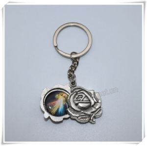 Hot Sell Big Religious Metal Rose with Images Key Chain, Catholic Key Holder (IO-ck110) pictures & photos