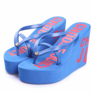 The Letters 11cm Flip Flops with Thick Bottom Slope with High-Heeled Platform Antiskid Slippers Female Leisure Beach Slippers pictures & photos