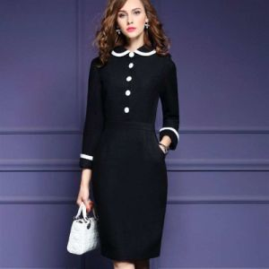 Winter Wool Woolen Dress Long Sleeve Doll Dress for Women pictures & photos