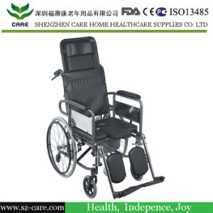 Commode Wheelchair, Folding Commode Wheelchair, Reclining Commode Wheelchair