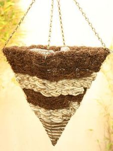 Plaited Corn Leaf and Salim Square Cone Hanging Basket