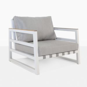 Magnificent Outdoor White Powder Coated Aluminum Single Sofa Pabps2019 Chair Design Images Pabps2019Com