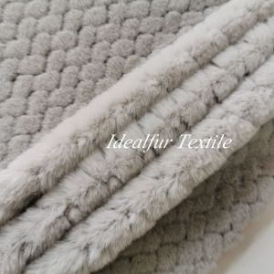 100% Polyester  Grey  Rabbit Faux Fur Fabric with Embossed