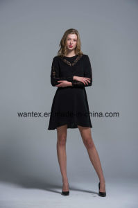 Ladies Lace Dress 100% Polyester Spring Autumn Fashion Hollow Sleeve pictures & photos
