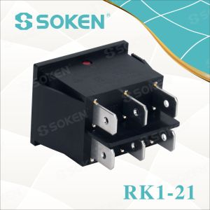 Soken Rk1-21 on off Illuminated Double Rocker Switch pictures & photos