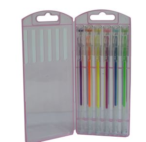 Diamond Point Gel Ink Pen Set 6 PCS/Box, Highlighter Gel Ink Pen
